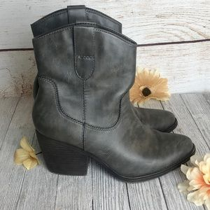 Madden Girl Gray Cowgirl Ankle Boot